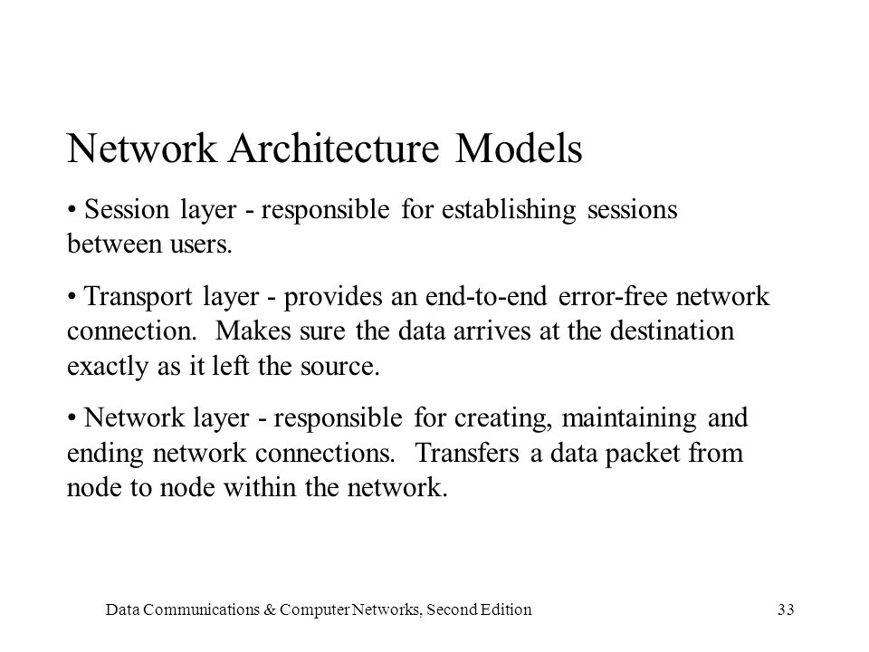 Data Communications & Computer Networks, Second Edition33 Network Architecture Models Session layer - responsible for establishing sessions between users.