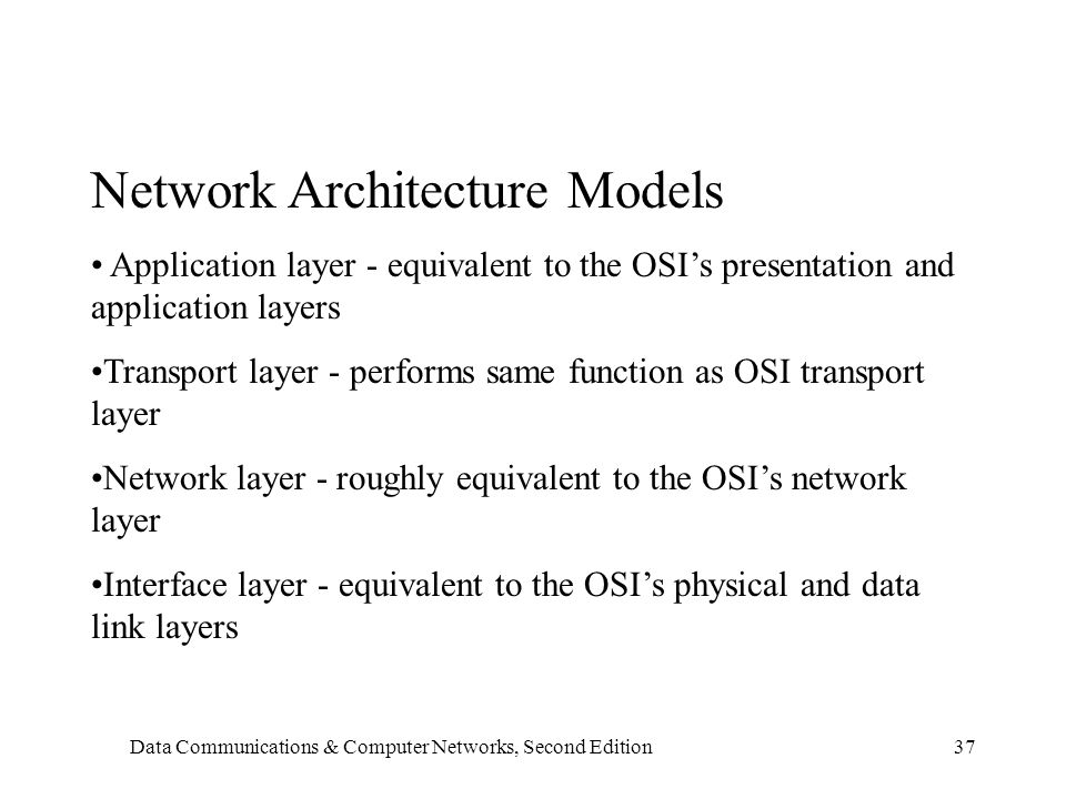 Data Communications & Computer Networks, Second Edition37 Network Architecture Models Application layer - equivalent to the OSI's presentation and application layers Transport layer - performs same function as OSI transport layer Network layer - roughly equivalent to the OSI's network layer Interface layer - equivalent to the OSI's physical and data link layers