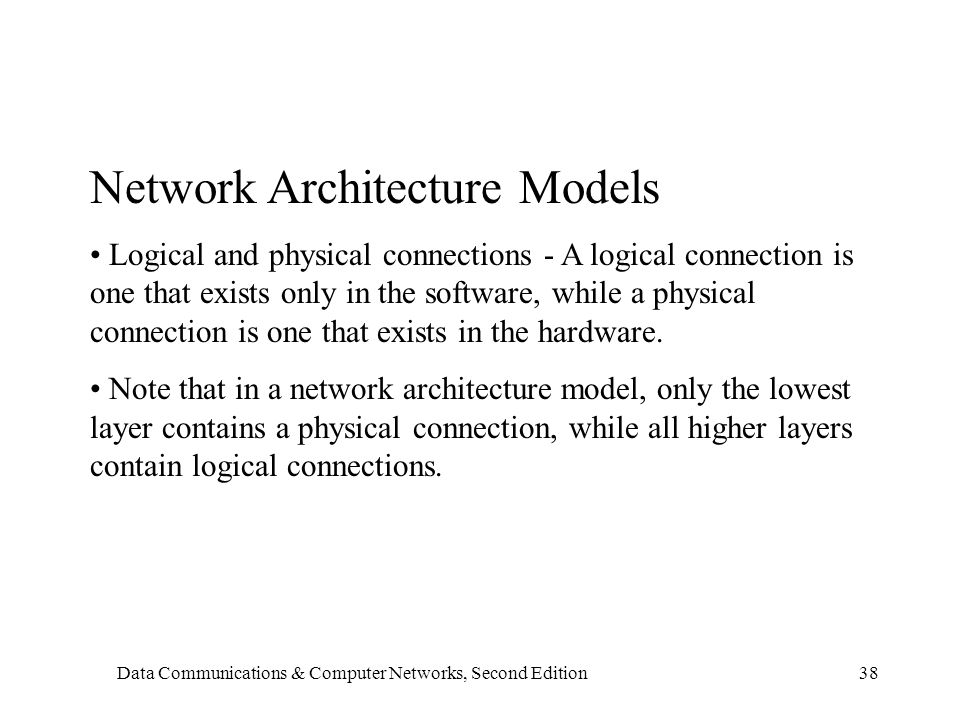 Data Communications & Computer Networks, Second Edition38 Network Architecture Models Logical and physical connections - A logical connection is one that exists only in the software, while a physical connection is one that exists in the hardware.