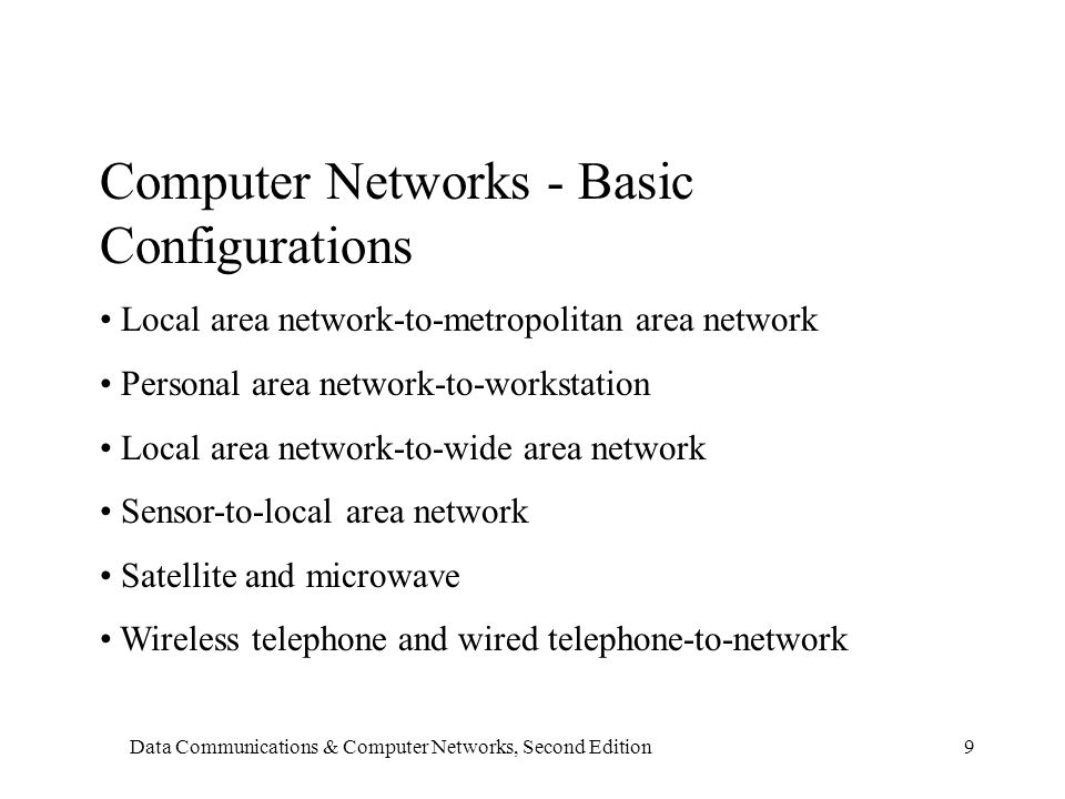 Data Communications & Computer Networks, Second Edition9 Computer Networks - Basic Configurations Local area network-to-metropolitan area network Personal area network-to-workstation Local area network-to-wide area network Sensor-to-local area network Satellite and microwave Wireless telephone and wired telephone-to-network