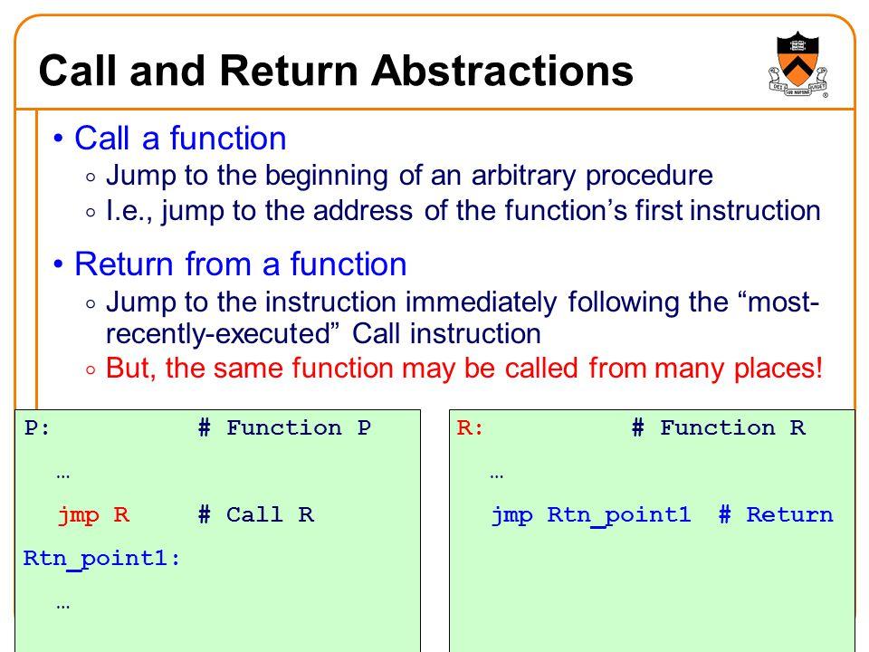 1 Function Calls Professor Jennifer Rexford Cos 217 Reading Chapter