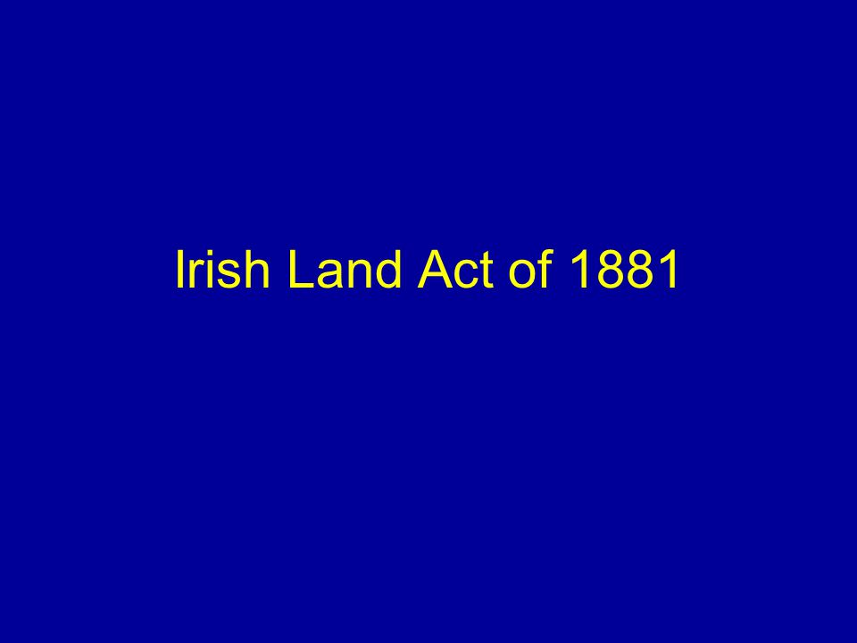 Irish Land Act of 1881