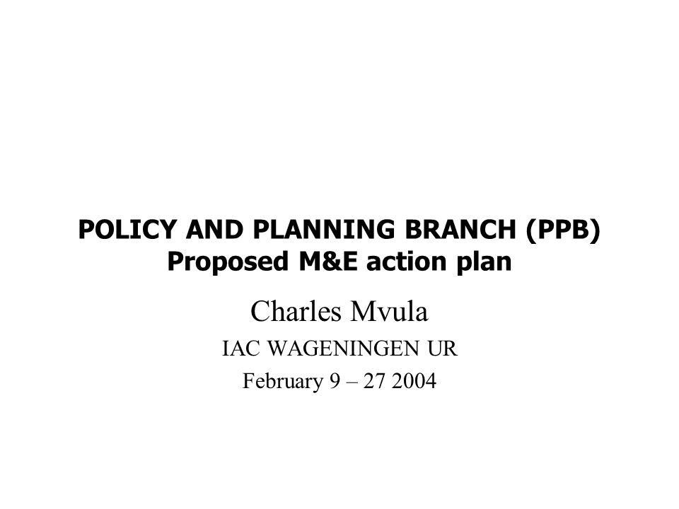 POLICY AND PLANNING BRANCH (PPB) Proposed M&E action plan Charles Mvula IAC WAGENINGEN UR February 9 –