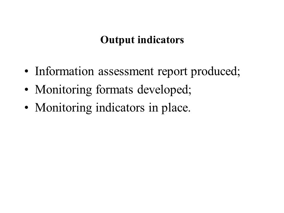 Output indicators Information assessment report produced; Monitoring formats developed; Monitoring indicators in place.
