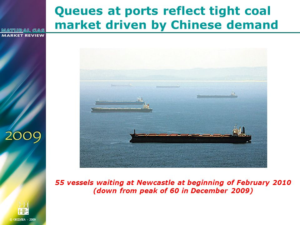 © OECD/IEA Queues at ports reflect tight coal market driven by Chinese demand 55 vessels waiting at Newcastle at beginning of February 2010 (down from peak of 60 in December 2009)