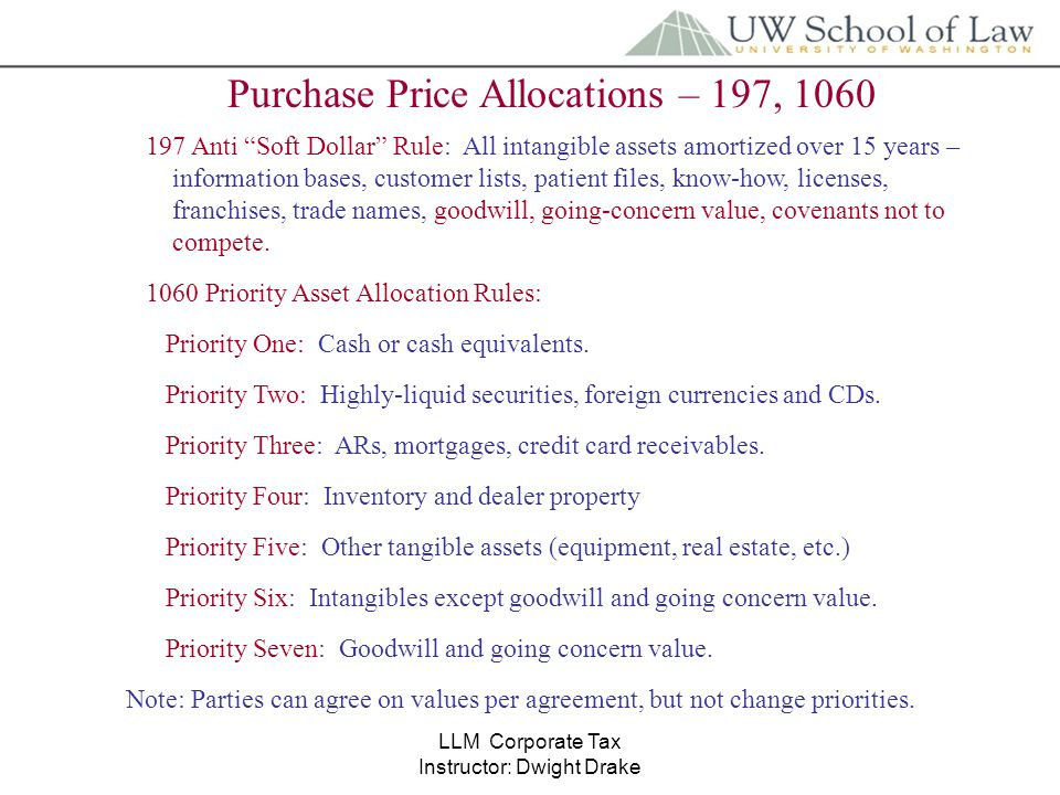 llm corporate tax instructor dwight drake purchase price allocations 197 1060 197 anti