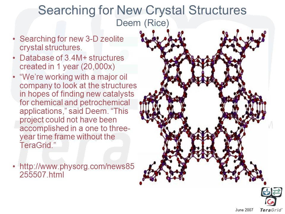 June 2007 Searching for New Crystal Structures Deem (Rice) Searching for new 3-D zeolite crystal structures.