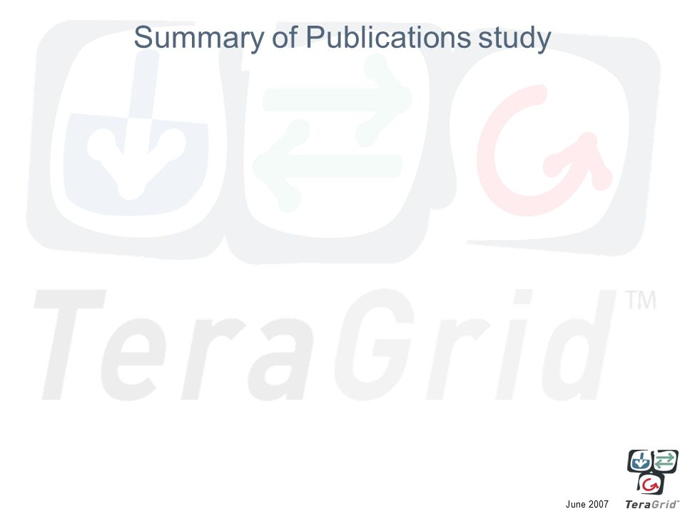 June 2007 Summary of Publications study