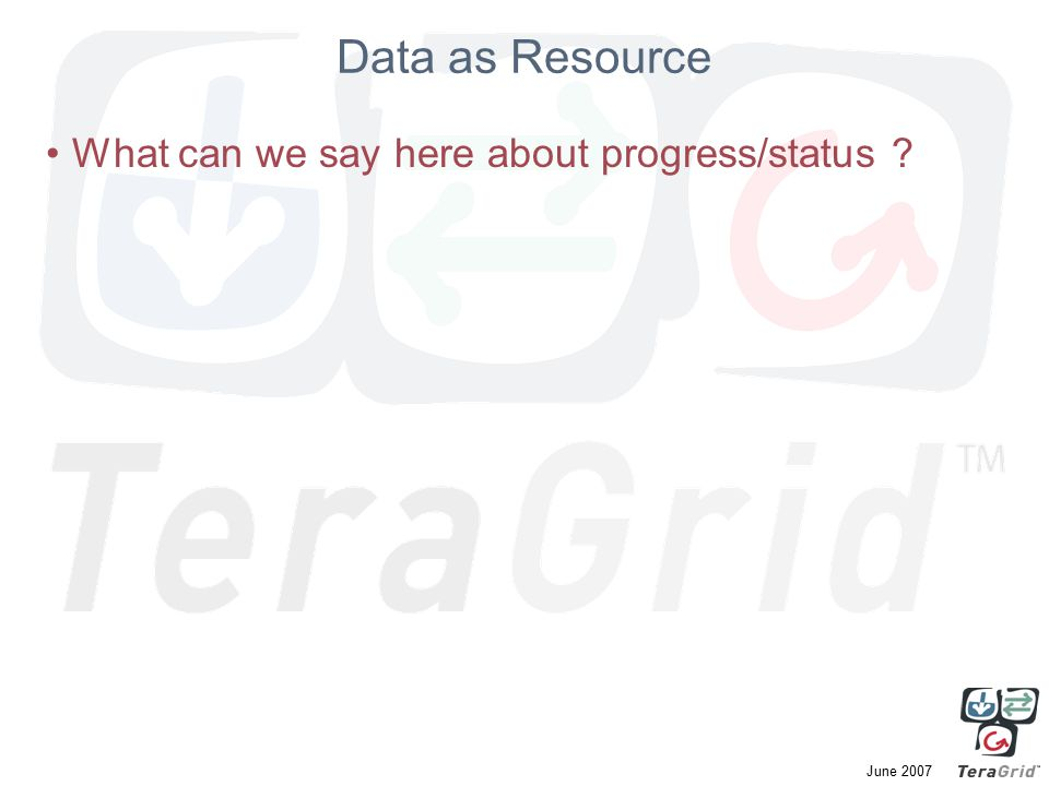 June 2007 Data as Resource What can we say here about progress/status