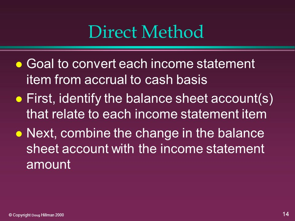 14 © Copyright Doug Hillman 2000 Direct Method l Goal to convert each income statement item from accrual to cash basis l First, identify the balance sheet account(s) that relate to each income statement item l Next, combine the change in the balance sheet account with the income statement amount