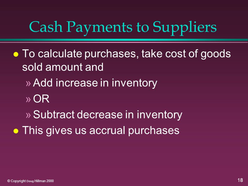18 © Copyright Doug Hillman 2000 Cash Payments to Suppliers l To calculate purchases, take cost of goods sold amount and »Add increase in inventory »OR »Subtract decrease in inventory l This gives us accrual purchases