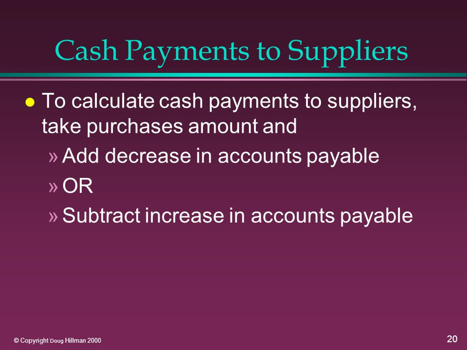 20 © Copyright Doug Hillman 2000 Cash Payments to Suppliers l To calculate cash payments to suppliers, take purchases amount and »Add decrease in accounts payable »OR »Subtract increase in accounts payable
