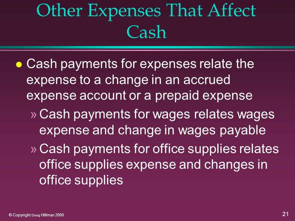 21 © Copyright Doug Hillman 2000 Other Expenses That Affect Cash l Cash payments for expenses relate the expense to a change in an accrued expense account or a prepaid expense »Cash payments for wages relates wages expense and change in wages payable »Cash payments for office supplies relates office supplies expense and changes in office supplies