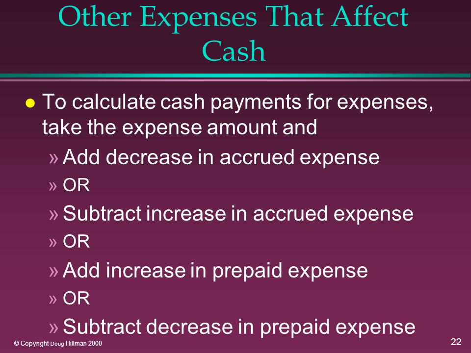 22 © Copyright Doug Hillman 2000 Other Expenses That Affect Cash l To calculate cash payments for expenses, take the expense amount and »Add decrease in accrued expense »OR »Subtract increase in accrued expense »OR »Add increase in prepaid expense »OR »Subtract decrease in prepaid expense