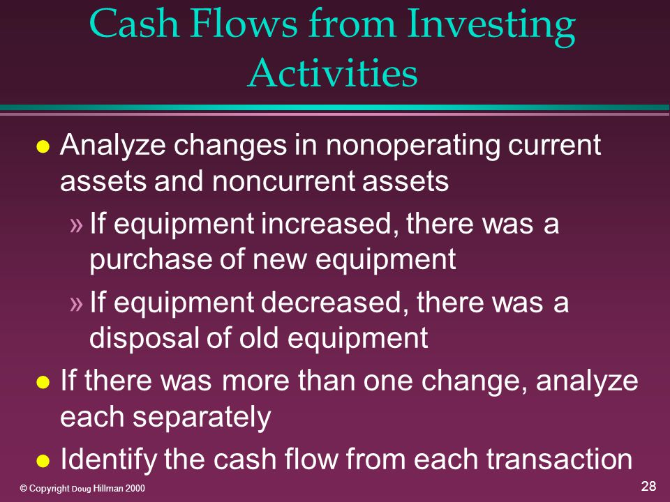 28 © Copyright Doug Hillman 2000 Cash Flows from Investing Activities l Analyze changes in nonoperating current assets and noncurrent assets »If equipment increased, there was a purchase of new equipment »If equipment decreased, there was a disposal of old equipment l If there was more than one change, analyze each separately l Identify the cash flow from each transaction