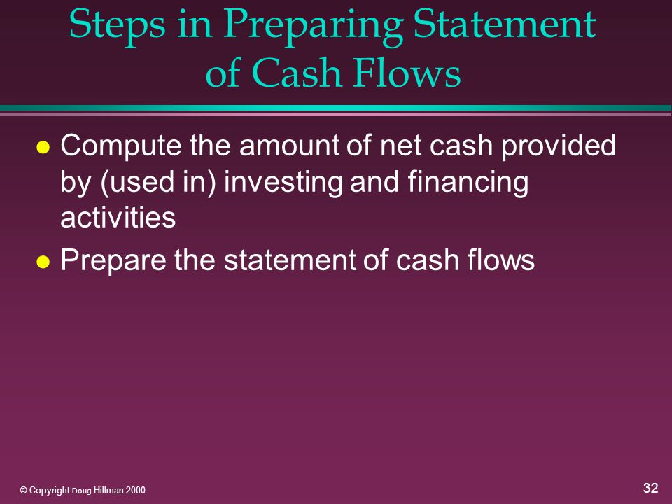 32 © Copyright Doug Hillman 2000 Steps in Preparing Statement of Cash Flows l Compute the amount of net cash provided by (used in) investing and financing activities l Prepare the statement of cash flows