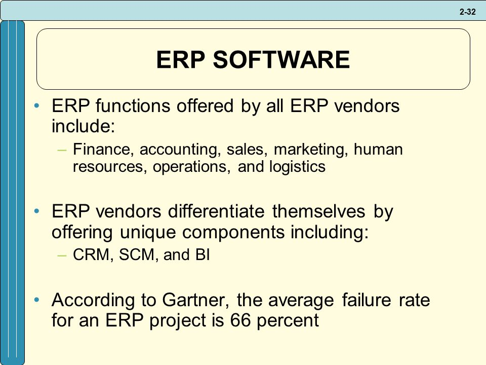2-32 ERP SOFTWARE ERP functions offered by all ERP vendors include: –Finance, accounting, sales, marketing, human resources, operations, and logistics ERP vendors differentiate themselves by offering unique components including: –CRM, SCM, and BI According to Gartner, the average failure rate for an ERP project is 66 percent