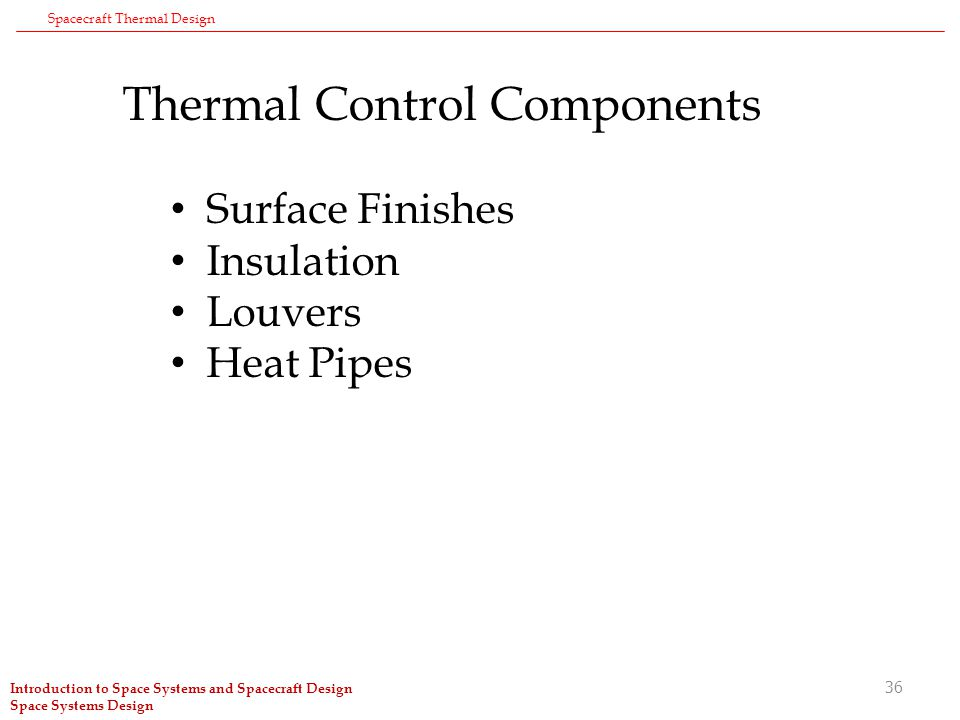 1 Spacecraft Thermal Design Introduction to Space Systems
