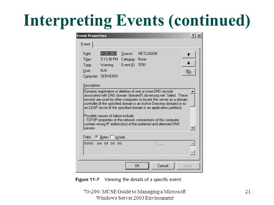 70-290: MCSE Guide to Managing a Microsoft Windows Server 2003 Environment 21 Interpreting Events (continued)
