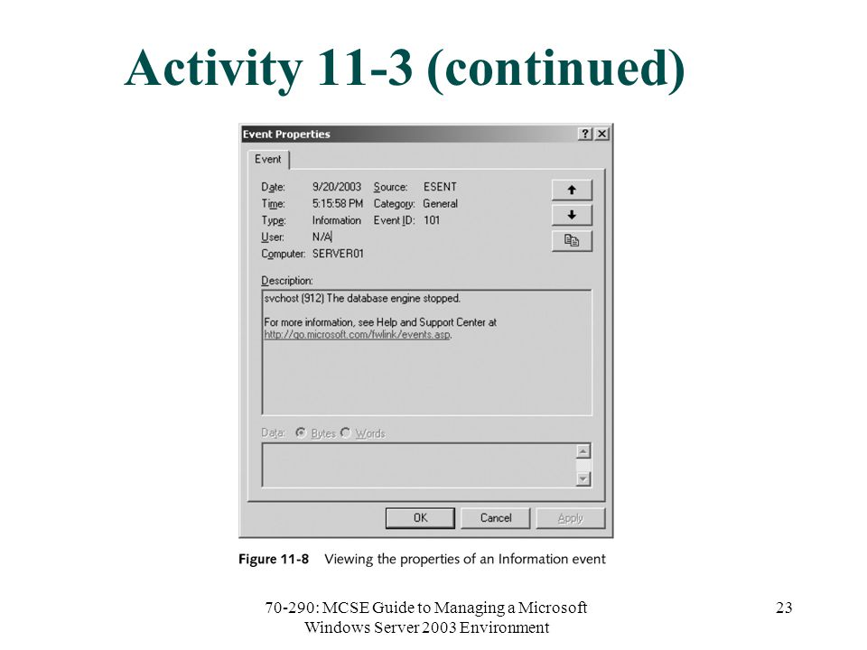 70-290: MCSE Guide to Managing a Microsoft Windows Server 2003 Environment 23 Activity 11-3 (continued)