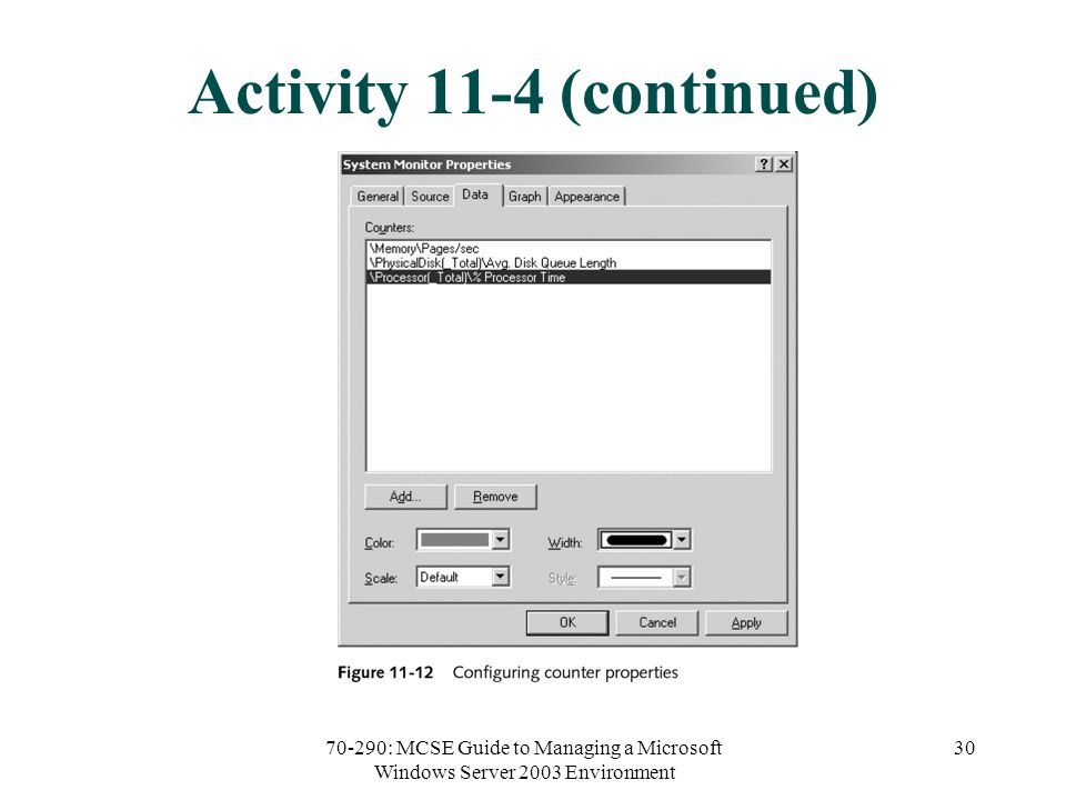 70-290: MCSE Guide to Managing a Microsoft Windows Server 2003 Environment 30 Activity 11-4 (continued)