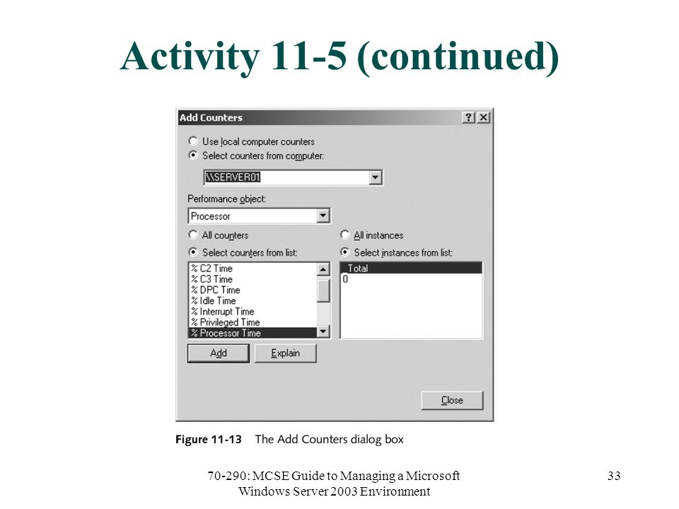 70-290: MCSE Guide to Managing a Microsoft Windows Server 2003 Environment 33 Activity 11-5 (continued)