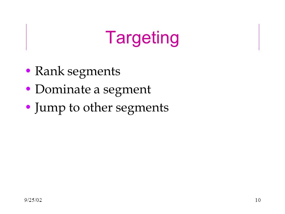 9/25/0210 Targeting Rank segments Dominate a segment Jump to other segments