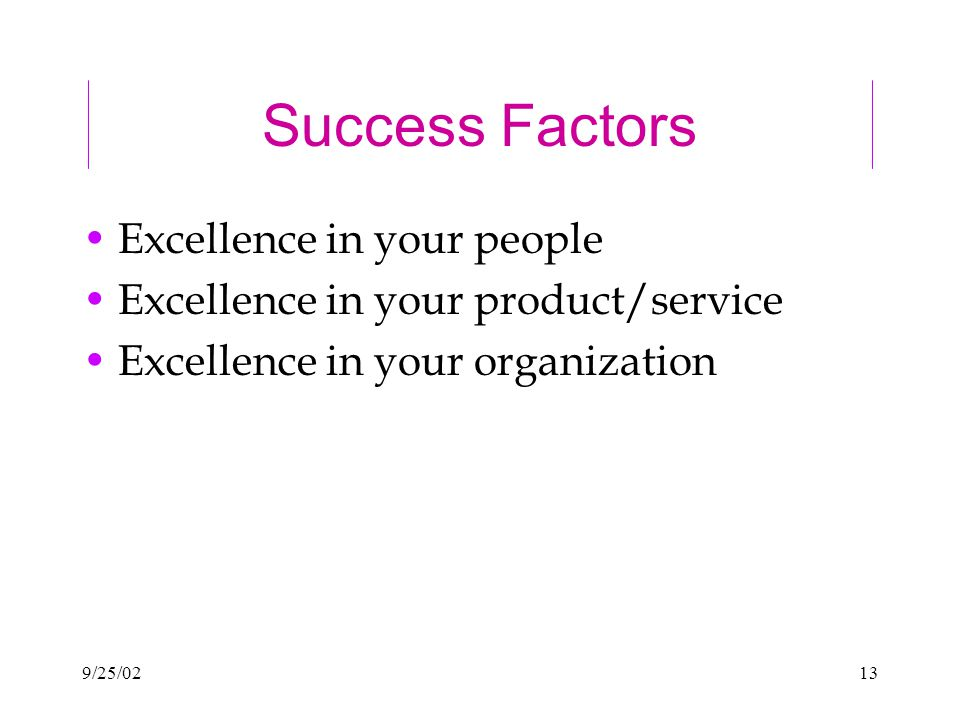 9/25/0213 Success Factors Excellence in your people Excellence in your product/service Excellence in your organization