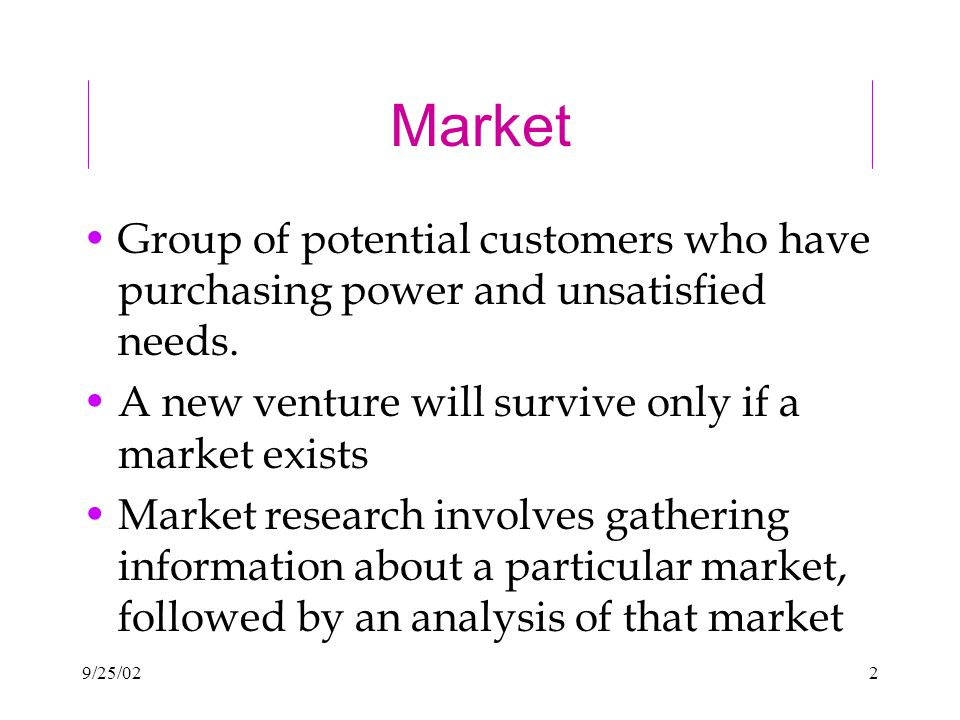 9/25/022 Market Group of potential customers who have purchasing power and unsatisfied needs.