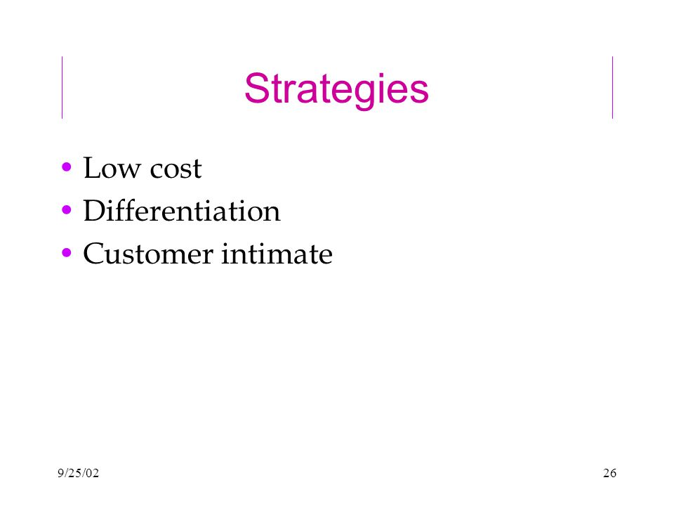 9/25/0226 Strategies Low cost Differentiation Customer intimate