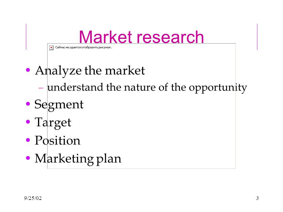 9/25/023 Market research Analyze the market –understand the nature of the opportunity Segment Target Position Marketing plan