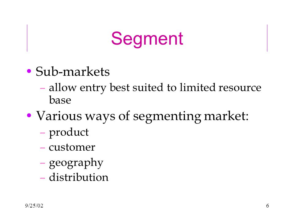 9/25/026 Segment Sub-markets –allow entry best suited to limited resource base Various ways of segmenting market: –product –customer –geography –distribution