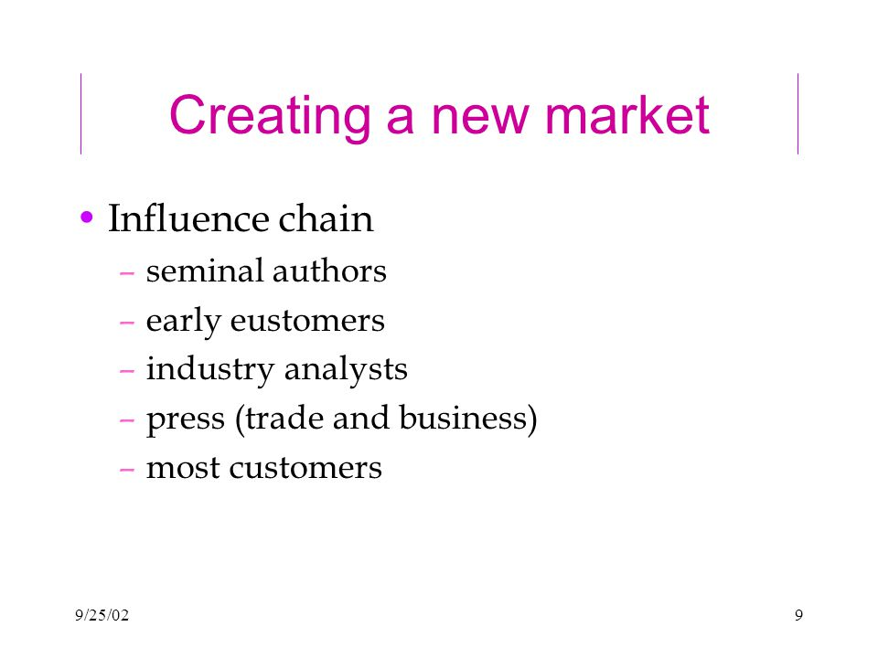 9/25/029 Creating a new market Influence chain –seminal authors –early eustomers –industry analysts –press (trade and business) –most customers