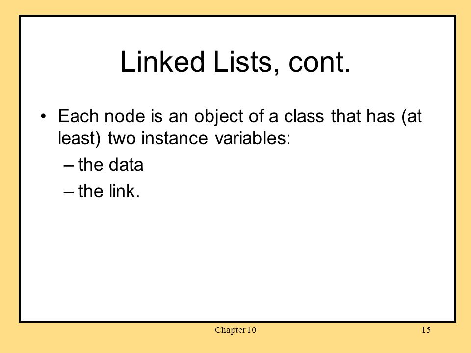 Chapter 1015 Linked Lists, cont.