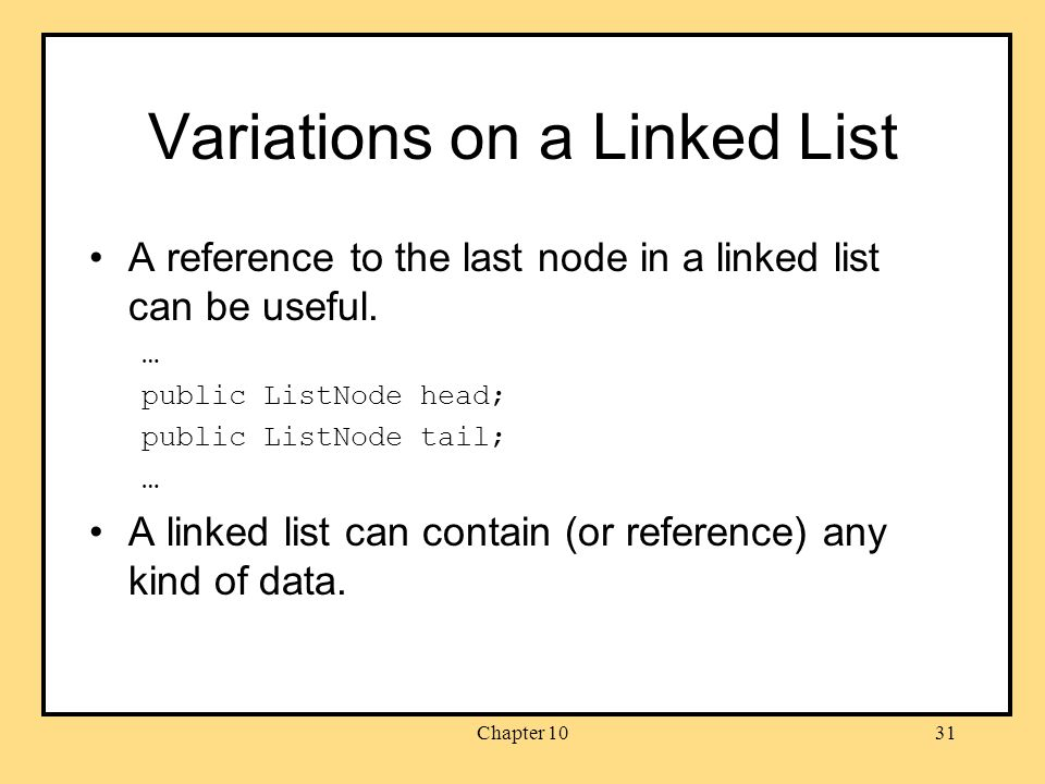 Chapter 1031 Variations on a Linked List A reference to the last node in a linked list can be useful.