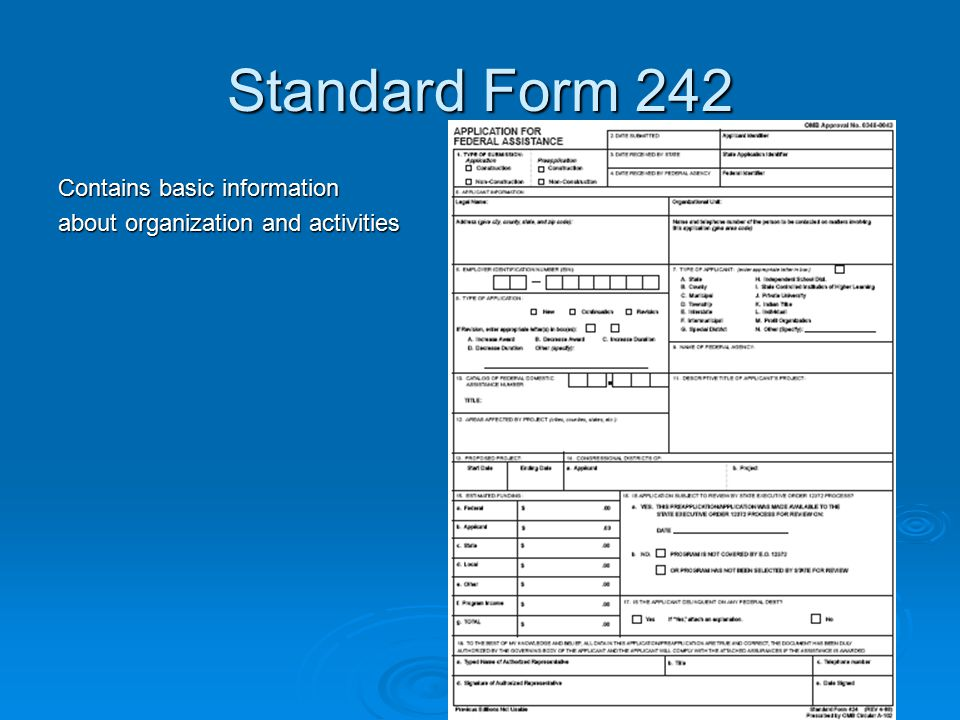 Standard Form 242 Contains basic information about organization and activities