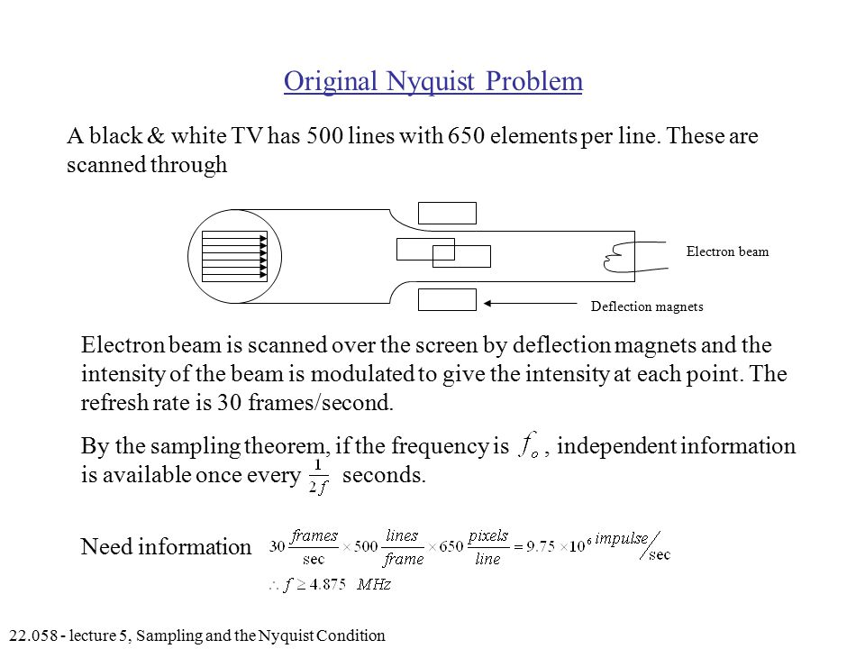 lecture 5, Sampling and the Nyquist Condition Original Nyquist Problem A black & white TV has 500 lines with 650 elements per line.
