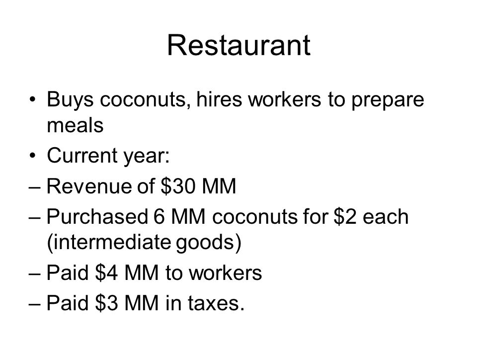 Restaurant Buys coconuts, hires workers to prepare meals Current year: – Revenue of $30 MM – Purchased 6 MM coconuts for $2 each (intermediate goods) – Paid $4 MM to workers – Paid $3 MM in taxes.