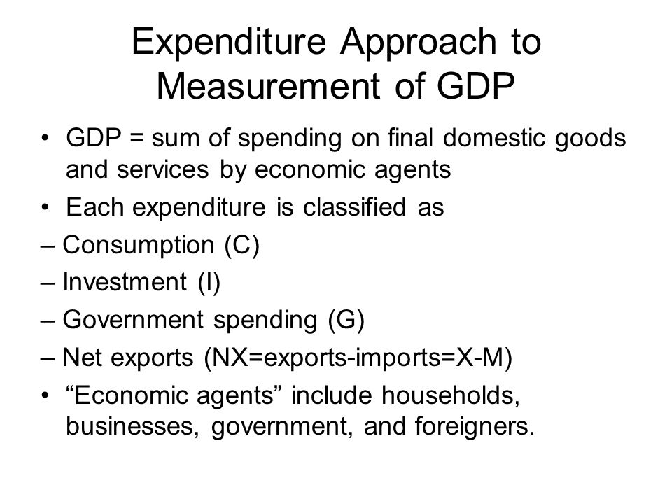 Expenditure Approach to Measurement of GDP GDP = sum of spending on final domestic goods and services by economic agents Each expenditure is classified as – Consumption (C) – Investment (I) – Government spending (G) – Net exports (NX=exports-imports=X-M) Economic agents include households, businesses, government, and foreigners.