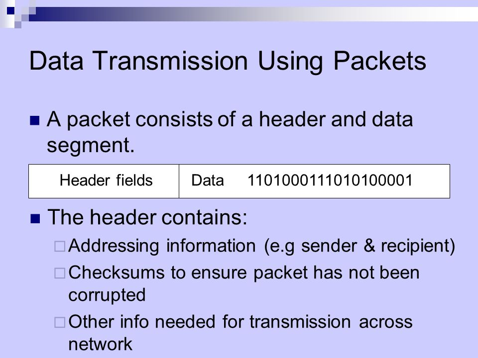 Data Transmission Using Packets A packet consists of a header and data segment.