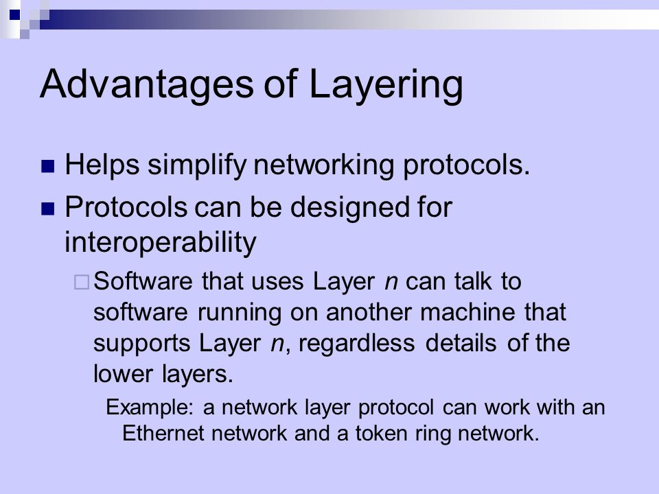 Advantages of Layering Helps simplify networking protocols.