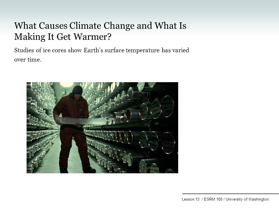 Lesson 13 / ESRM 100 / University of Washington What Causes Climate Change and What Is Making It Get Warmer.