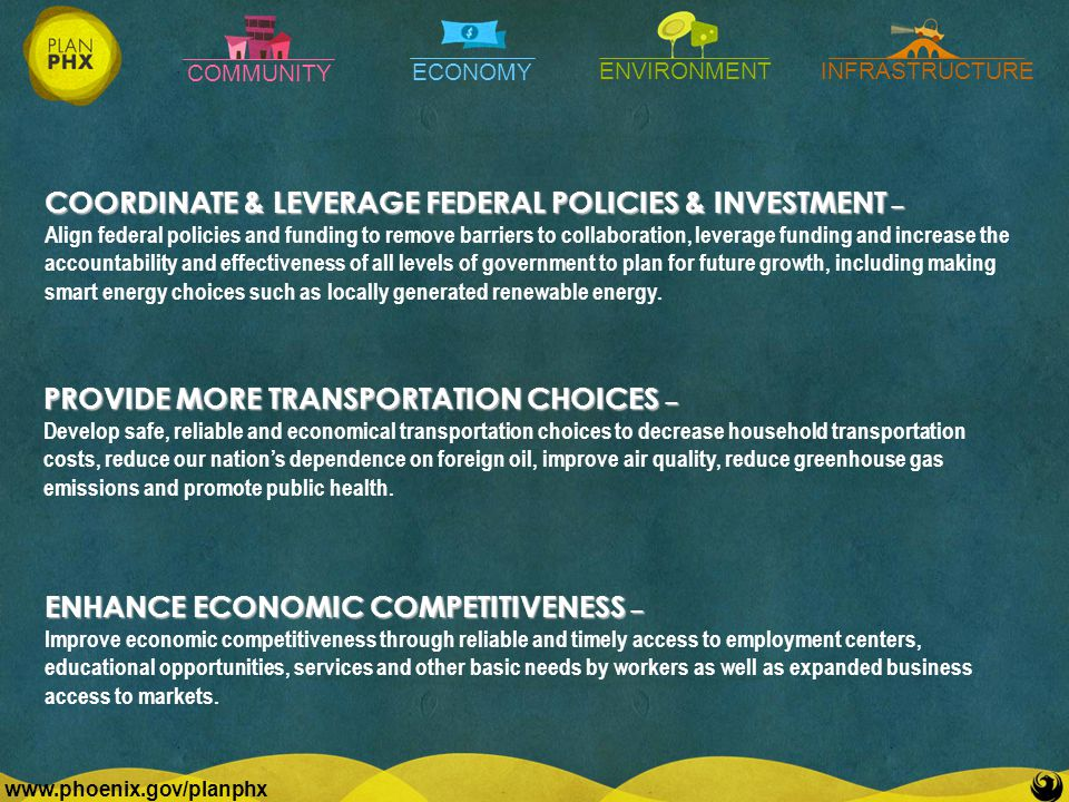 COMMUNITY ECONOMY ENVIRONMENTINFRASTRUCTURE   PROVIDE MORE TRANSPORTATION CHOICES – Develop safe, reliable and economical transportation choices to decrease household transportation costs, reduce our nation's dependence on foreign oil, improve air quality, reduce greenhouse gas emissions and promote public health.