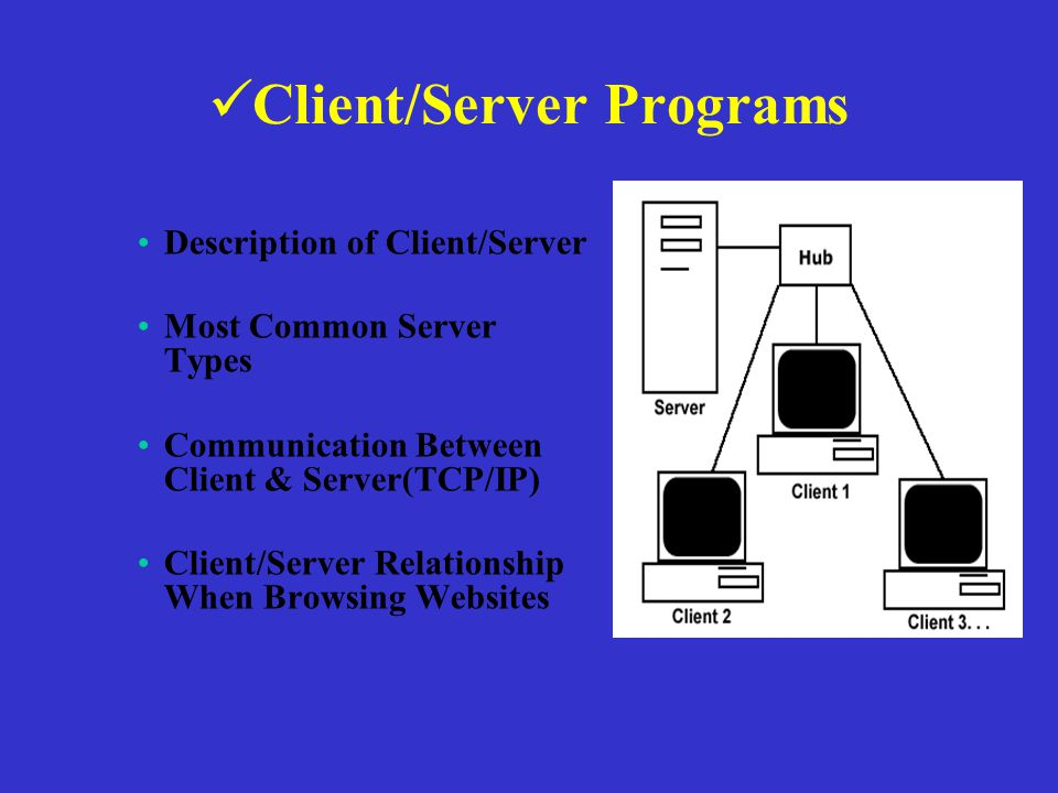 Client/Server Programs Description of Client/Server Most Common Server Types Communication Between Client & Server(TCP/IP) Client/Server Relationship When Browsing Websites