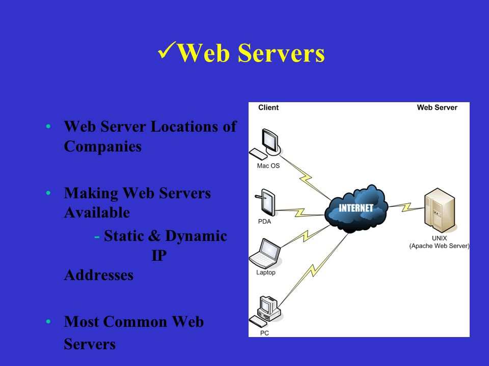 Web Servers Web Server Locations of Companies Making Web Servers Available - Static & Dynamic IP Addresses Most Common Web Servers