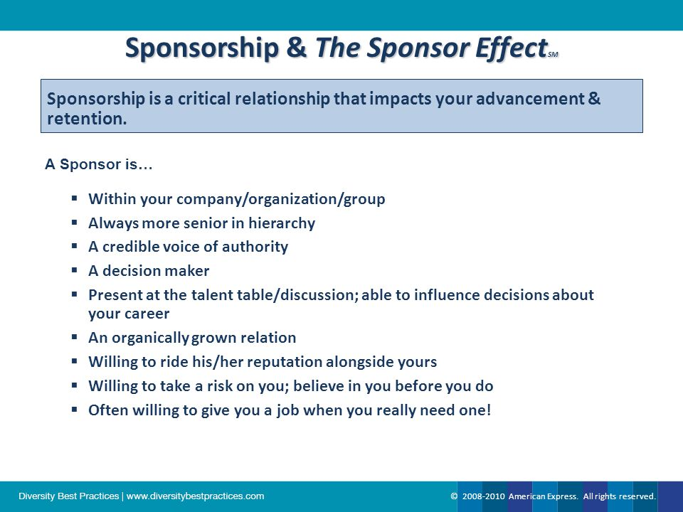 The Sponsor Effect SM How We See It at American Express How We See