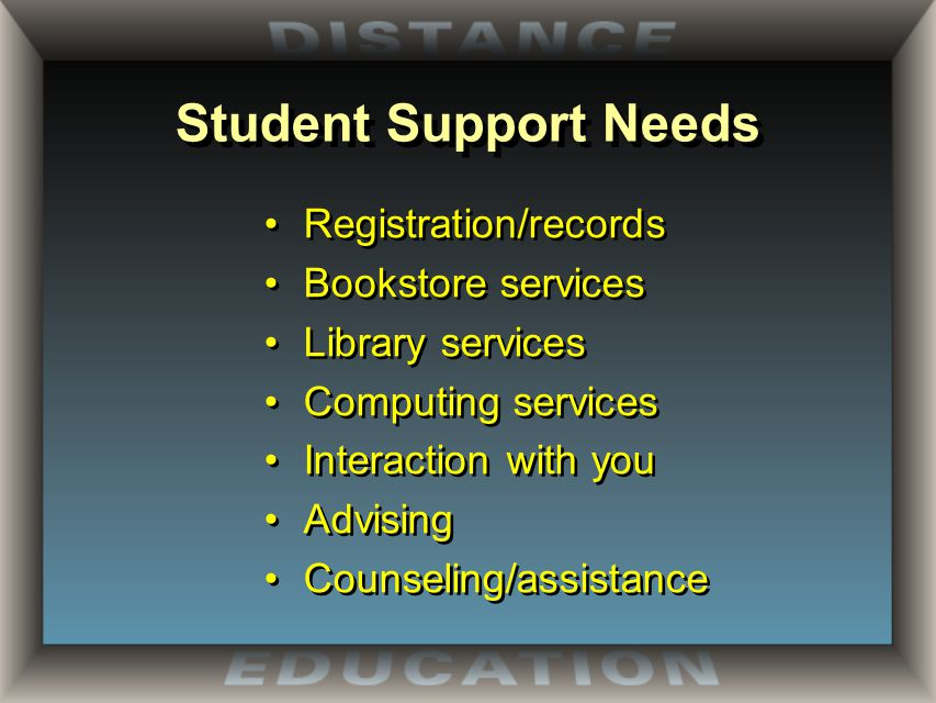 Student Support Needs Registration/records Bookstore services Library services Computing services Interaction with you Advising Counseling/assistance Registration/records Bookstore services Library services Computing services Interaction with you Advising Counseling/assistance