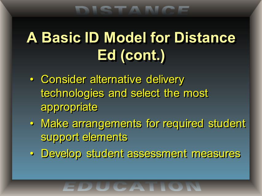 A Basic ID Model for Distance Ed (cont.) Consider alternative delivery technologies and select the most appropriate Make arrangements for required student support elements Develop student assessment measures Consider alternative delivery technologies and select the most appropriate Make arrangements for required student support elements Develop student assessment measures