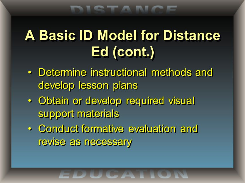 A Basic ID Model for Distance Ed (cont.) Determine instructional methods and develop lesson plans Obtain or develop required visual support materials Conduct formative evaluation and revise as necessary Determine instructional methods and develop lesson plans Obtain or develop required visual support materials Conduct formative evaluation and revise as necessary