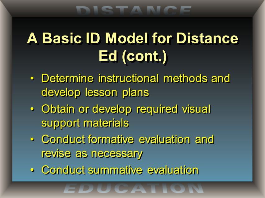 A Basic ID Model for Distance Ed (cont.) Determine instructional methods and develop lesson plans Obtain or develop required visual support materials Conduct formative evaluation and revise as necessary Conduct summative evaluation Determine instructional methods and develop lesson plans Obtain or develop required visual support materials Conduct formative evaluation and revise as necessary Conduct summative evaluation